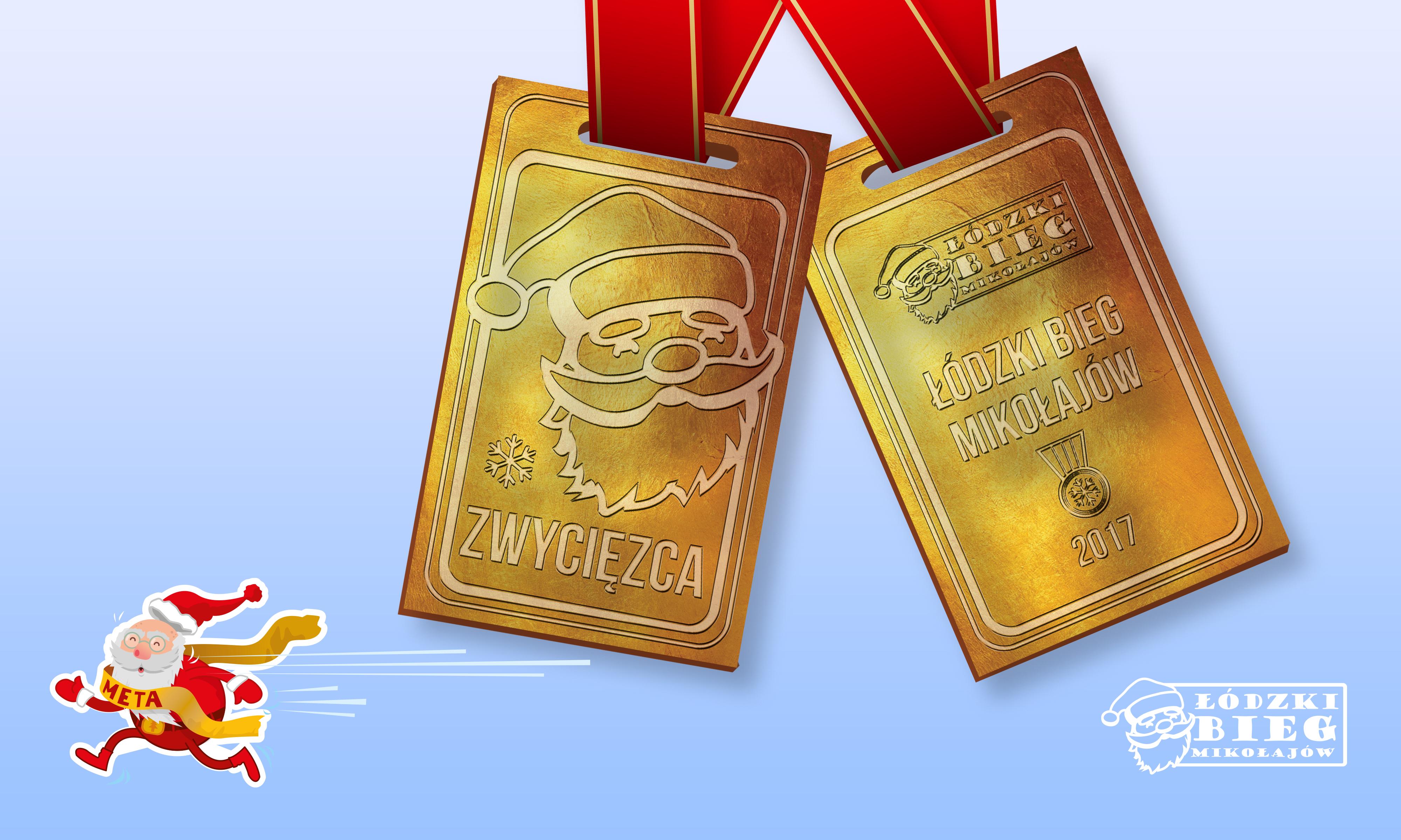 Łódzki Bieg Mikołajów medal 2017